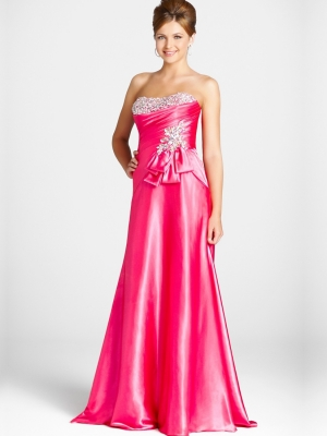 Buy Royal Beaded Fuchsia Sheath/Column Scoop Neckline Sweep Train Prom Dress  under 200-SinoAnt.com