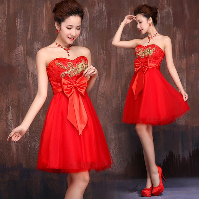 Gold phoenix embroidery strapless Chinese red mini gauze A-Line ...