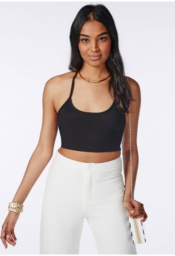 Missguided - T Bar Ribbed Crop Top Black