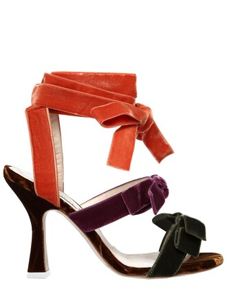 velvet sandals bows sandals velvet purple orange shoes