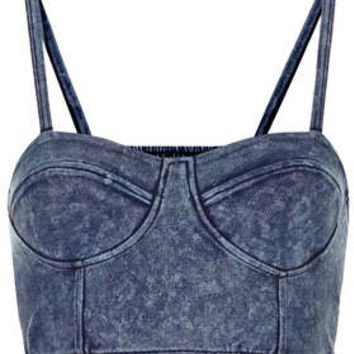 DENIM CUPPED STRAPPY BRALET on Wanelo
