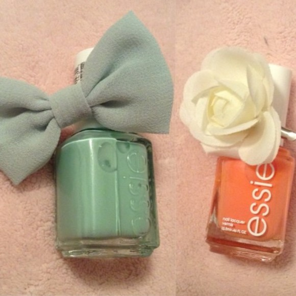 white jewels nail polish essie, nail polish kawaii flowers flower bow bows mint green pink