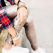 pants,sequin pants,sequins,gold sequins,bracelets,stacked bracelets,gold bracelet,sneakers,white sneakers,low top sneakers