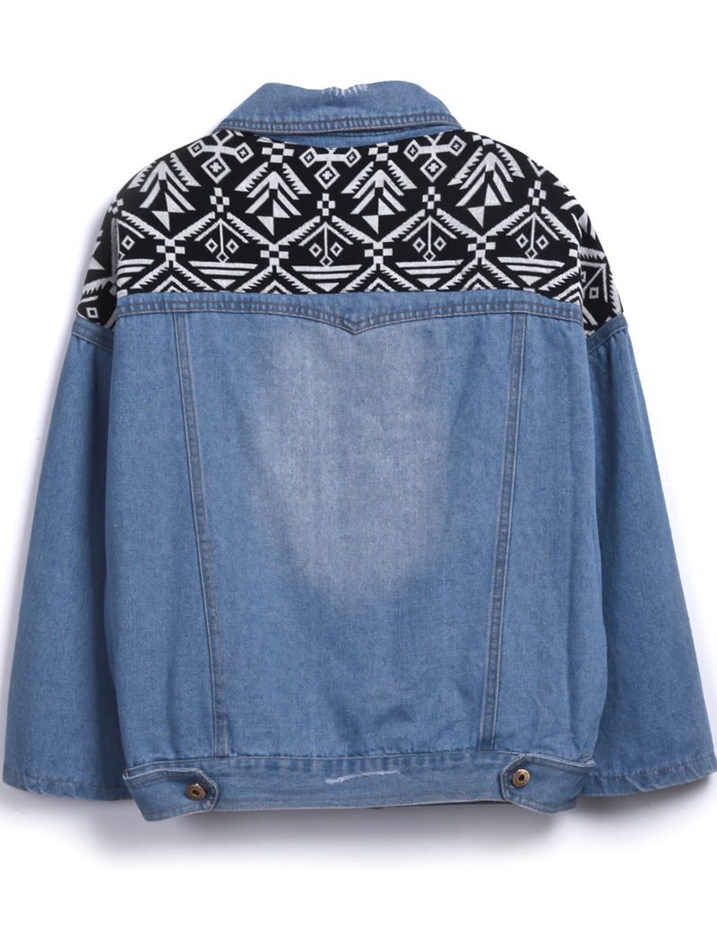Light Blue Contrast Black Embroidered Bleached Ripped Jacket - Sheinside.com