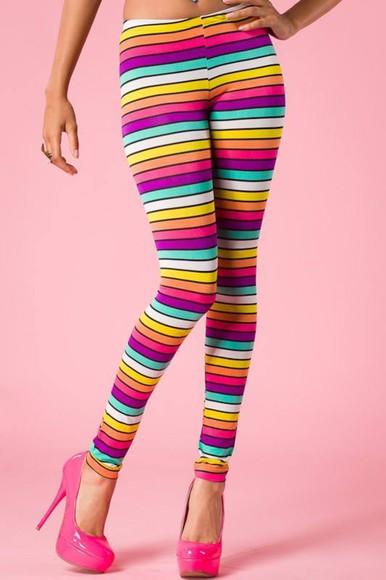 rainbow stripe stripes multi colored leggings tights