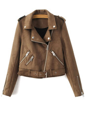 jacket,brown,fashion,style,trendy,fall outfits,leather jacket,long sleeves,zaful