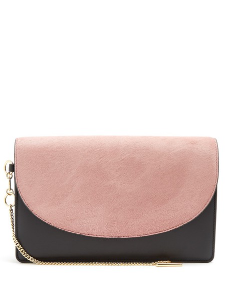 Diane Von Furstenberg hair clutch leather black pink bag