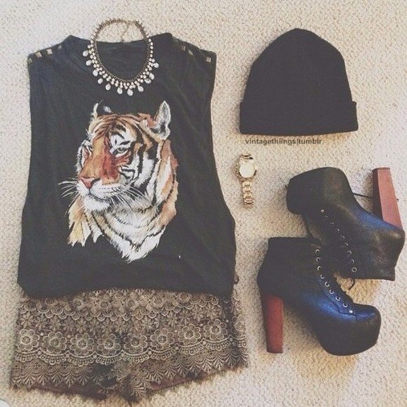 t-shirt black shirt black shirt shorts shoes skirt high heels pumps vintage pumps brown wood black beanie jewels watch neckless tiger tiger shirt tiger top vintage tiger shirt print vintage skirt vintage shorts brown shorts