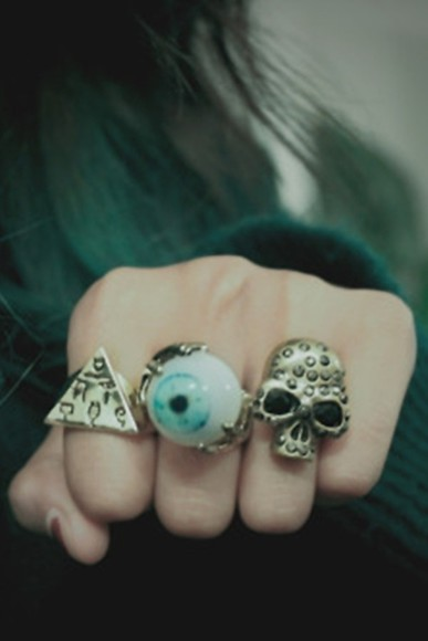 skull jewels rings ring grunge grunge ring soft grunge awesomea eye eye grunge grunge eye blue eye eye ring triangle hispter triange must have fashion style my style whatever love it cool vintage sky blue light blue eye muscle shirt light blue