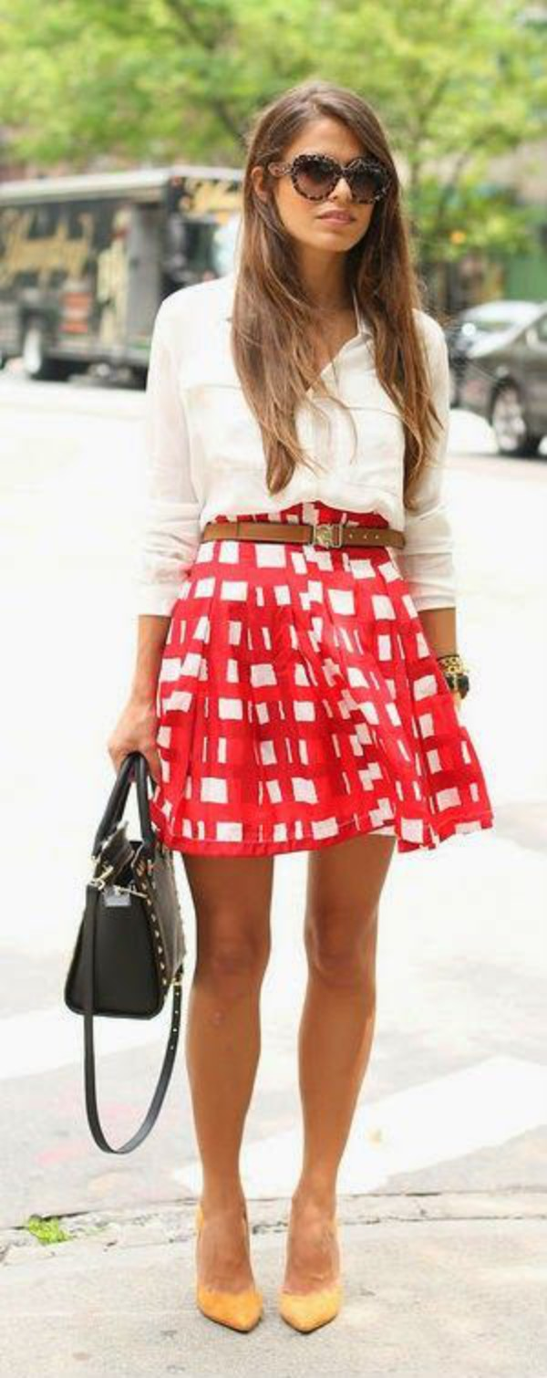 skirt belt blouse fashion