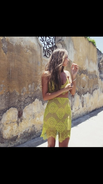 dress yellow yellow yellow lace two-piece top and skirt set