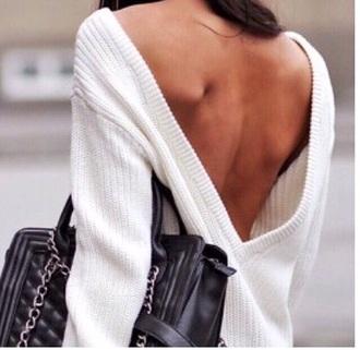 blouse open back backless sweater wool wool sweater white
