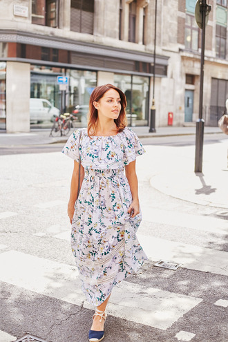 dress tumblr floral floral dress floral maxi dress maxi dress long dress off the shoulder off the shoulder dress sandals wedges wedge sandals shoes