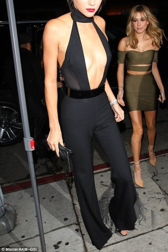 jumpsuit kendall jenner black jumpsuit 20th birthday kendall's 20th birthday kardashians keeping up with the kardashians halter neck kendall and kylie jenner black party outfits sexy sexy outfit summer outfits spring outfits fall outfits winter outfits classy elegant date outfit wedding clothes wedding guest formal holiday season christmas