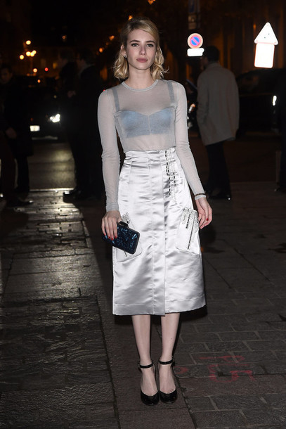 top skirt midi skirt pumps clutch emma roberts paris fashion week 2016 fashion week 2016 bra streetstyle celebrity underwear