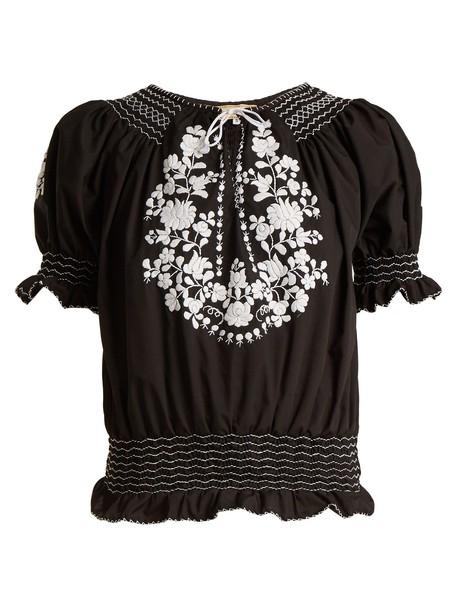 Muzungu Sisters blouse embroidered black top