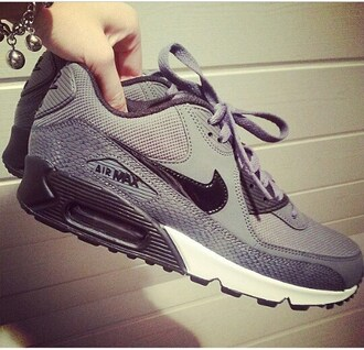 shoes air max grey shoes grey color nike nike shoes nike air nike air max 90 white black sports shoes street shoes