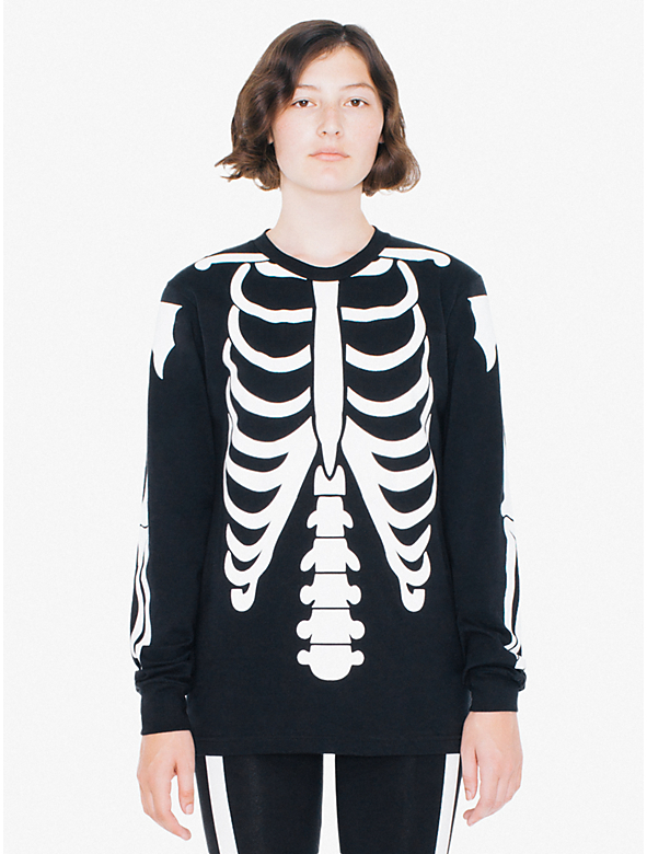 Unisex glow skeleton fine jersey crewneck long sleeve t for American apparel fine jersey crewneck t shirt