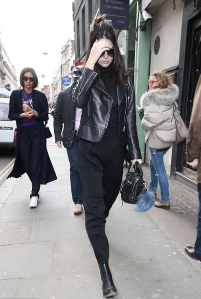pants kendall jenner streetstyle jacket leather jacket