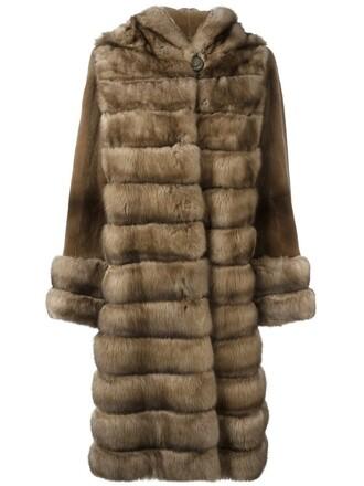 coat fur coat fur women brown