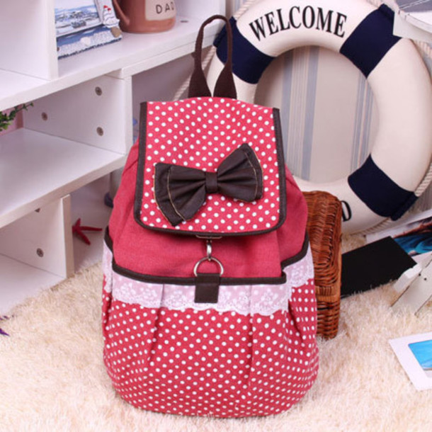 bag polka dots backpack