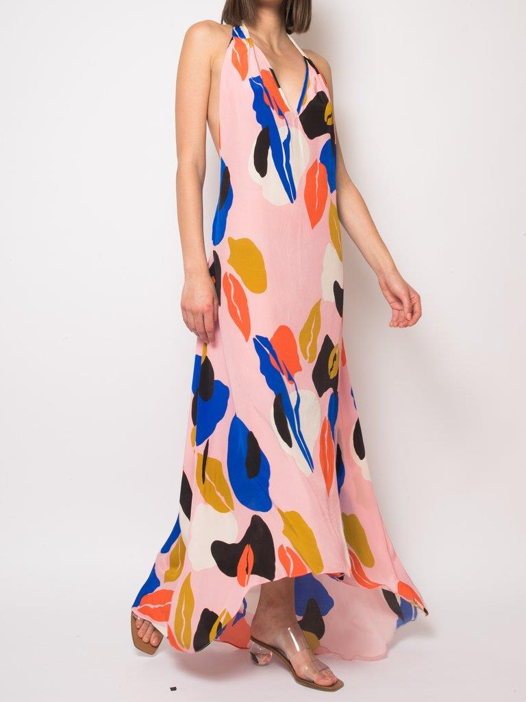 Jory Spring Abstract Backless Dress