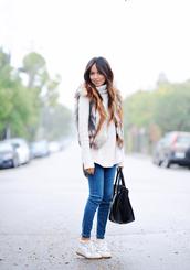 sincerely jules,jacket,jeans,shoes,printed fur vest