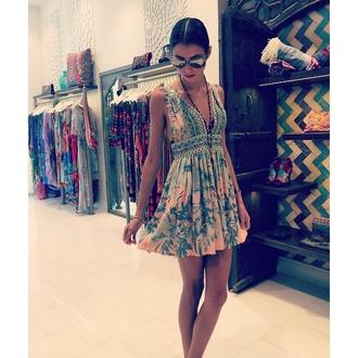 summer dress v neck dress floral dress