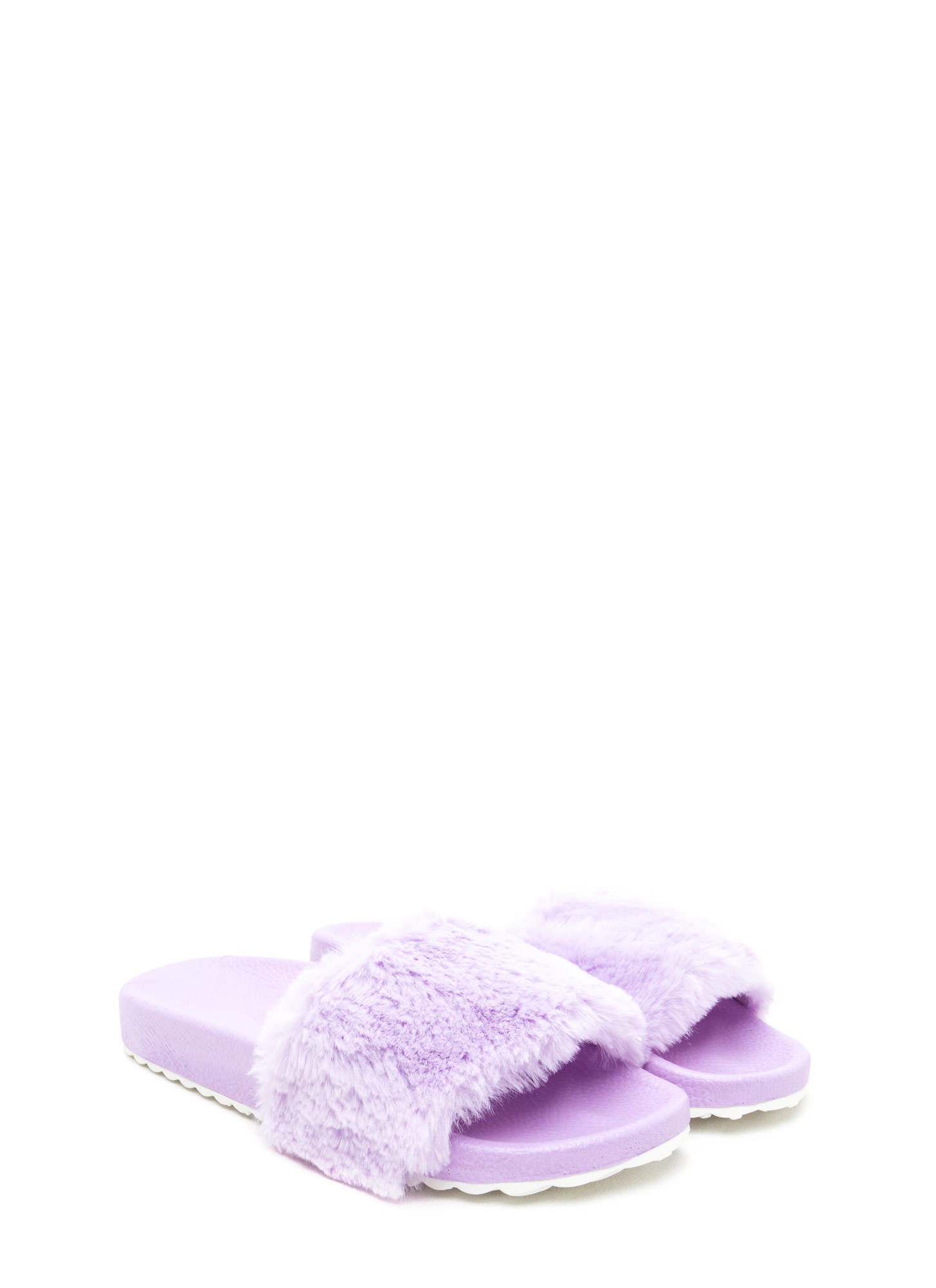 Furry Friends Platform Slide Sandals PINK BLACK LILAC RED FUCHSIA - GoJane.com