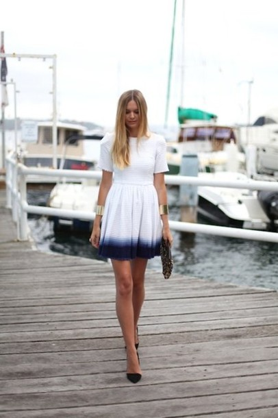 dress ombre white blue dip dyed short arm ombre dress