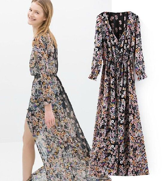 Sale Bohemia Women Long Sleeve Flower Floral Printed Cardigan Maxi Dress s M L | eBay