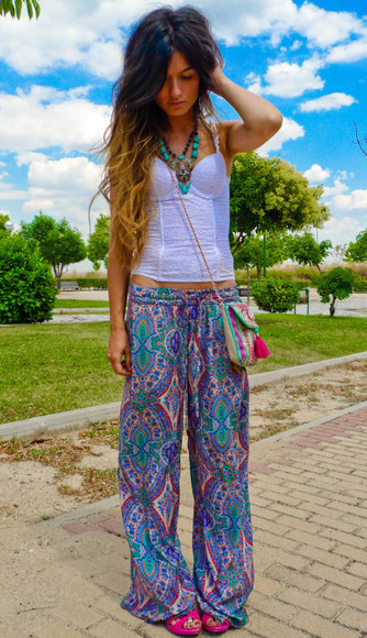 pants printed pants print hippie boho top palazzo pants summer pants