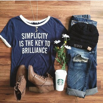 t-shirt blue graphic tee boots starbucks coffee ripped jeans jeans dark blue beanie flowers brown boots heel boots indie pretty shirt tumblr ootd outfit spring summer hippie tumblr outfit ringer tee blue jeans instagram boho quote on it