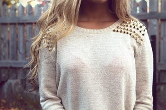 sweater gold beige sweater fall winter cute spikes