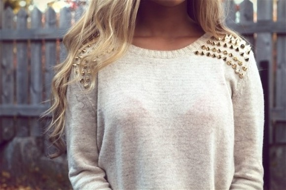 sweater beige sweater gold fall winter cute spikes
