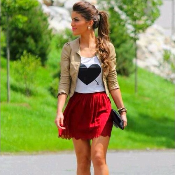 skirt red dress blouse white heart blackheart lace laces sweet cute nice everyday paris shirt jacket