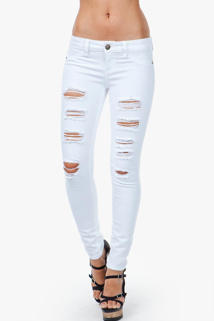 GACI Distressed White Skinny Jeans - BEST SELLERS