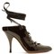 Lace-up patent-leather mules