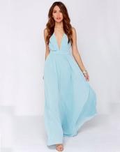 dress,long dress,v neck dress,baby blue dress