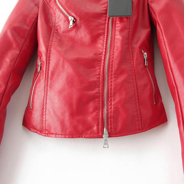 Red lapel long sleeve zipper leather jacket