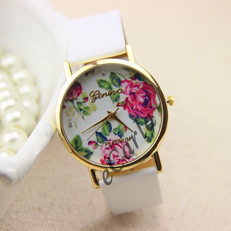 Zegarek Geneva platinum NEW Kwiaty Biel