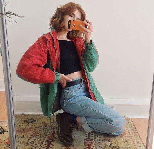jacket jeans high waisted mom jeans