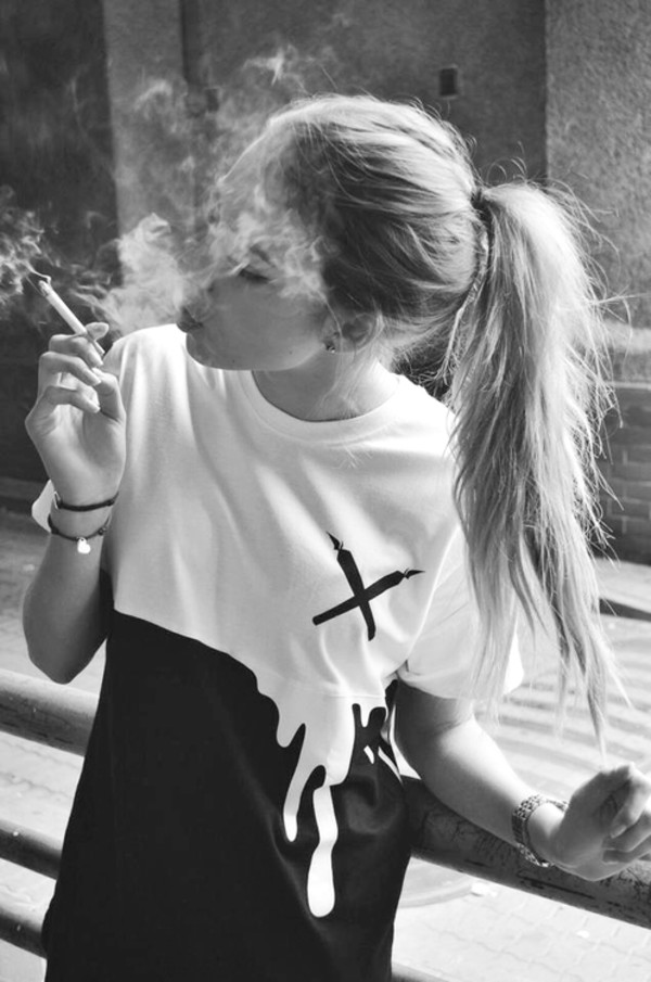 black and white smoking