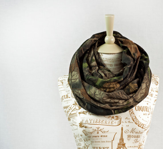 Camo Infinity Scarf RealTree Camouflage Real Tree Circle Jersey Brown Chunky Warm