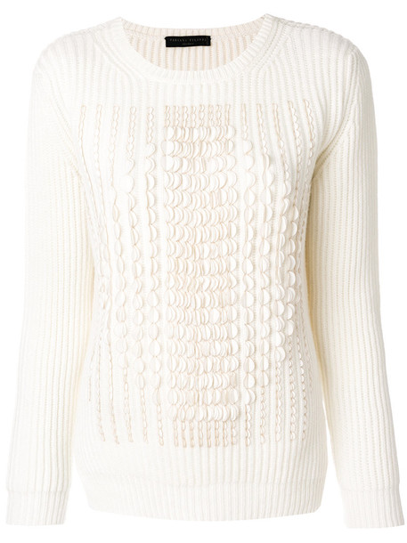 Fabiana Filippi - jumper with scalloped trim - women - Silk/Spandex/Elastane/Cashmere - 40, White, Silk/Spandex/Elastane/Cashmere