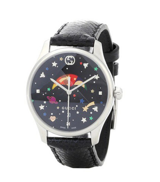 gucci leather watch watch leather black jewels
