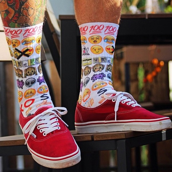 socks be odd emoji print emoji print emoji socks Odd Sox stand out fashion style trendy trendsetter trendsetting smileys smiley