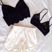tank top,bralette,shorts,white,tumblr,clothes,black,black and white,bra,lace,tumblr clothes,underwear,shirt,summer,pretty,white shorts,sexy,little black dress,black crop top,blouse,strappy,High waisted shorts,crop tops,cute,fashion,b&w,crochet,edgy,denim,dolphin,dolphin shorts,indie,hippie,skirt,top,black lace,sportswear,sport shorts,black bralette,see through