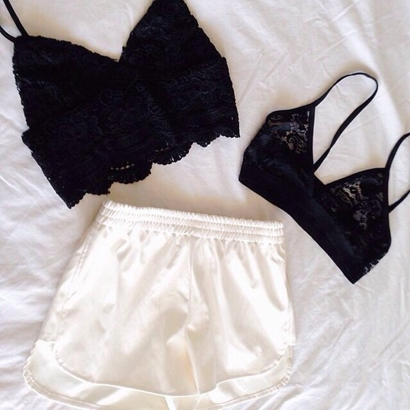 bralette shirt shorts white lace black bralet bra strappy highwaisted shorts tank top underwear black & white black crop top blouse shorts