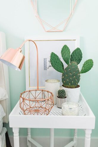 home accessory copper metallic home decor lamp cactus vase plants bedroom side table table home furniture